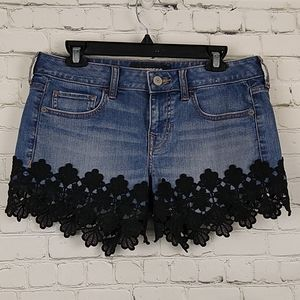 Express Denim Shorts 6 Black Lace Trim Relaxed